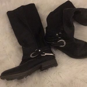 much love black buckle boots